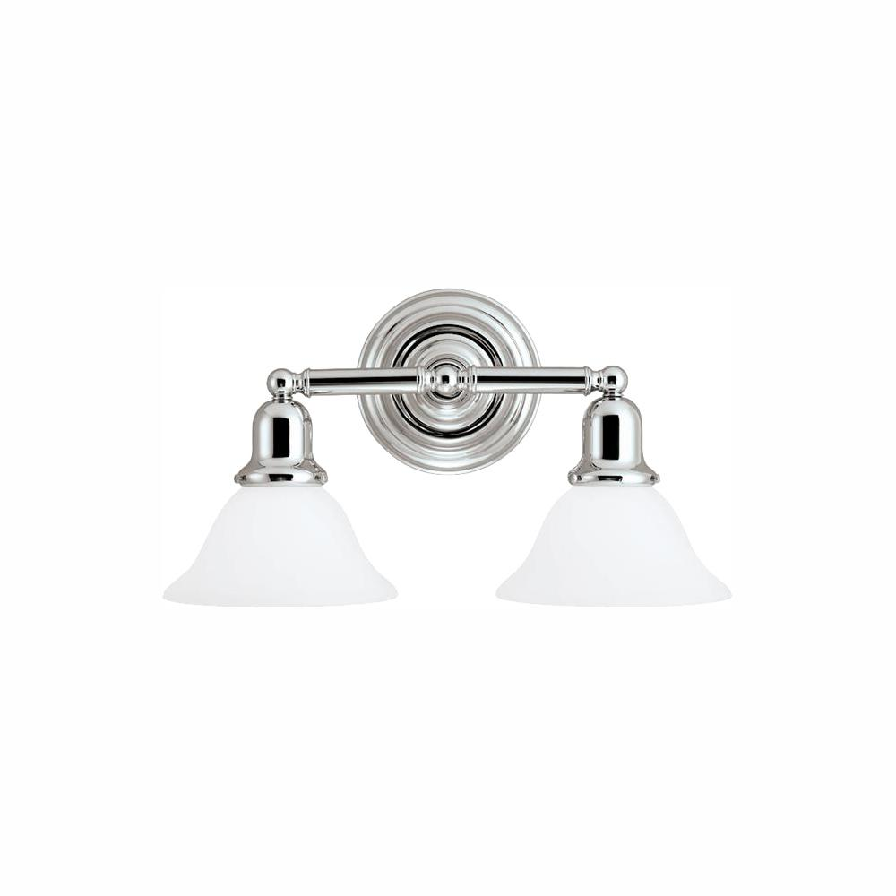 Sea Gull Lighting Sussex 2-Light Chrome Bath Light with LED Bulbs