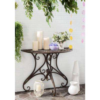 Annalise Outdoor Rustic Brown Iron Round Outdoor Accent Table