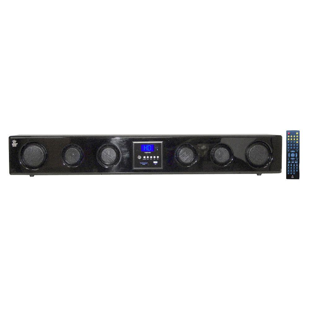 Pyle 300-Watt 6-Way Multi-Source Wall/Shelf Mount Sound Bar with USB, SD, MP3, FM Tuner