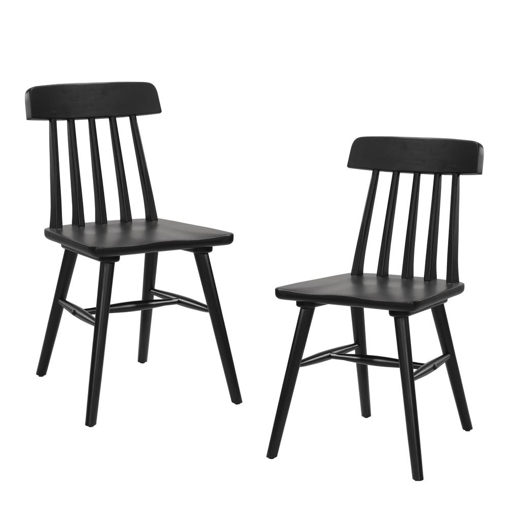 Brookside Black Armless Wood Dining Chair (Set of 2)