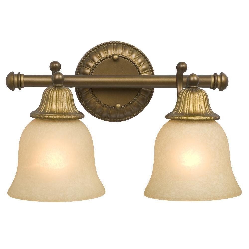 Negron 2-Light Parisian Antique Brass Incandescent Bath Vanity Light - Brass - Filament Design - Vanity Lighting - Lighting - The Home Depot