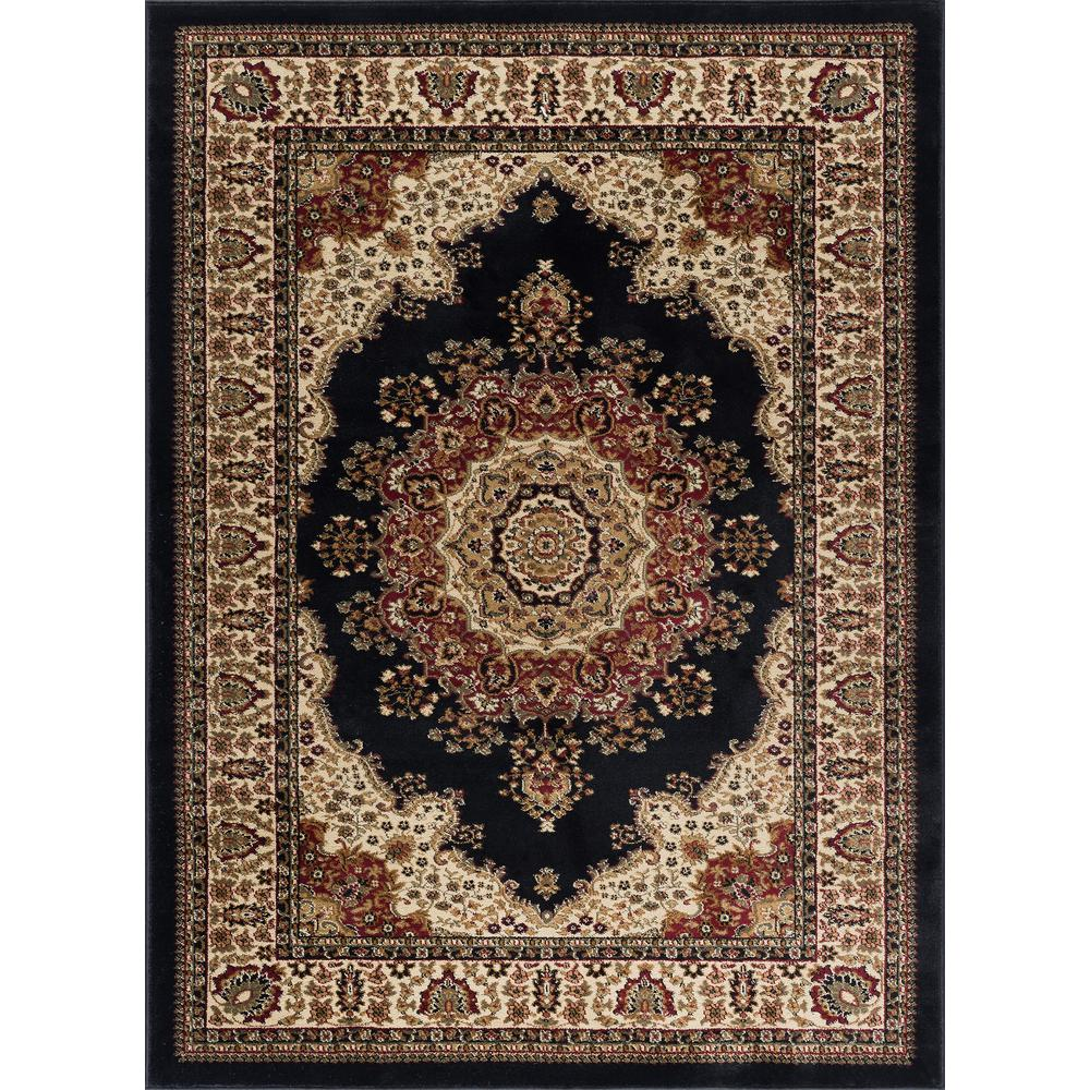 Tayse Rugs Sensation Black 7 ft. 10 in. x 10 ft. 3 in. Traditional Area Rug