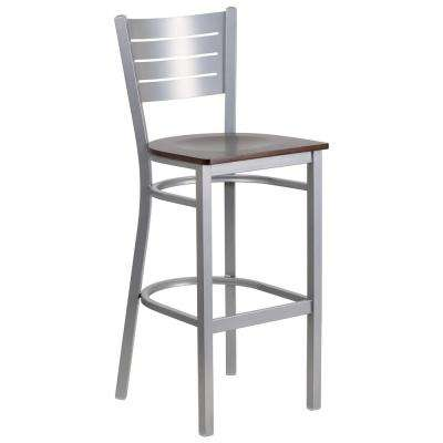 30 in. Silver and Walnut Bar Stool