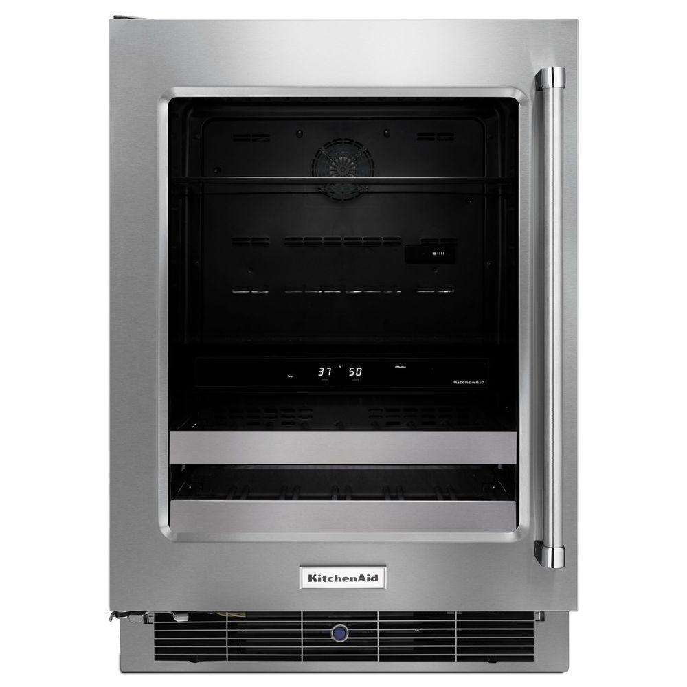 KitchenAid 24 in. Dual Zone 14-Bottle Wine Cooler, Silver KitchenAid 24 in. Dual Zone 14-Bottle Wine Cooler, Silver Color: Stainless Steel.