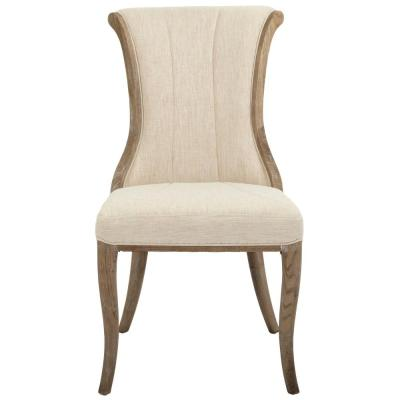Jacques Natural Linen Flared Back Side Chair in Antique Brown (Set of 2)