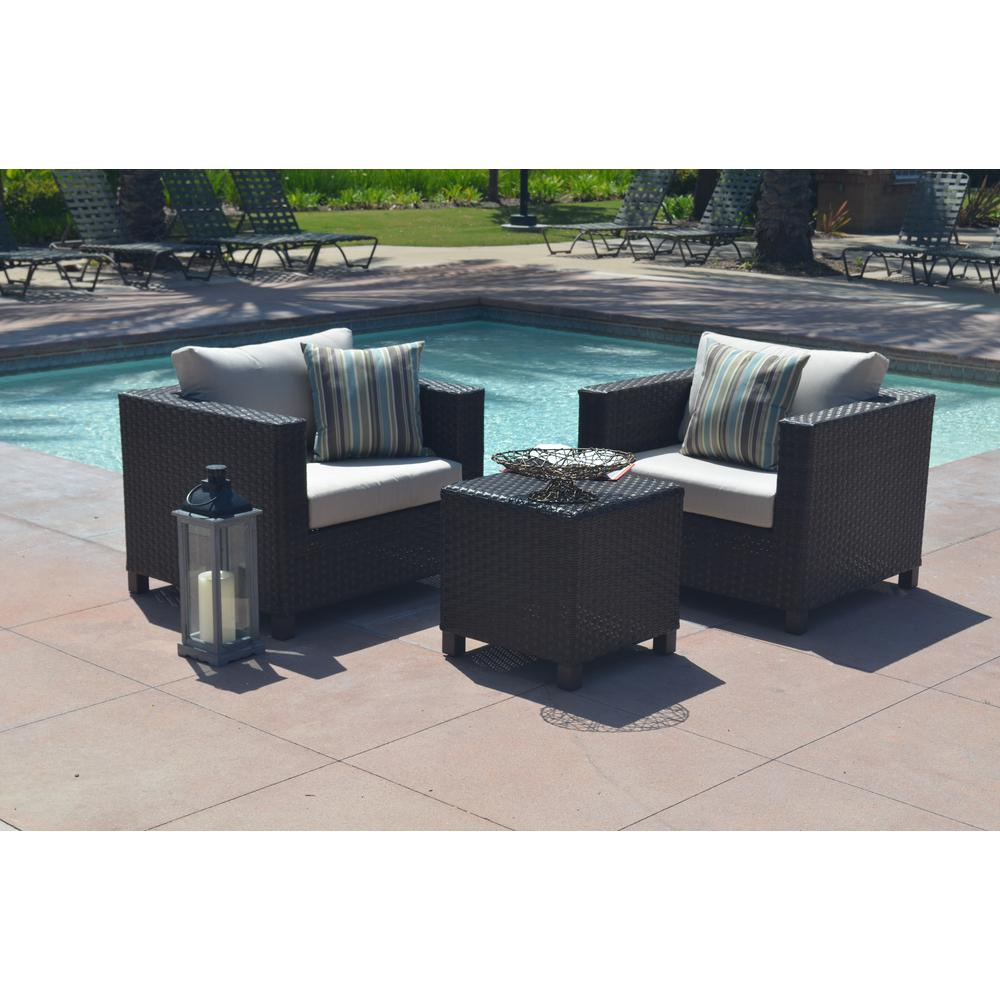 AE Outdoor Naples 3-Piece All-Weather Wicker Patio Conversation Set with Sunbrella Beige Cushions