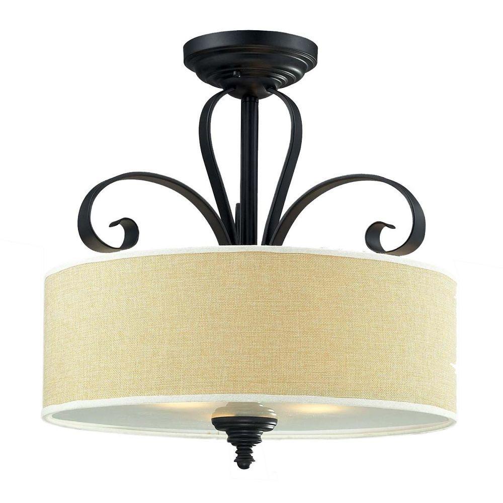 Filament Design Lawrence 3-Light Creme and Matte Black Incandescent Ceiling Flushmount