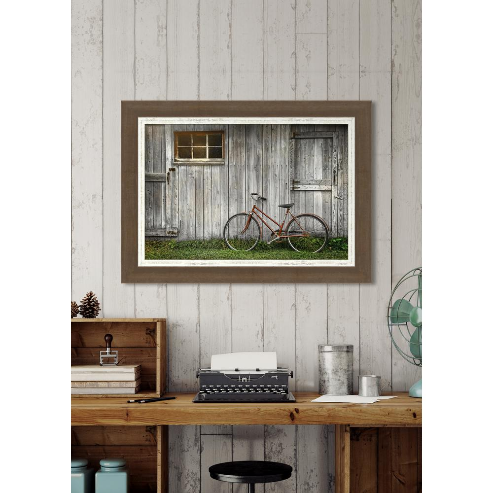Melissa Van Hise 38 in. x 28 in. u0026quot;Bicycle by the Barnu0026quot; Framed Giclee Print Wall Art-HDIP20100 ...