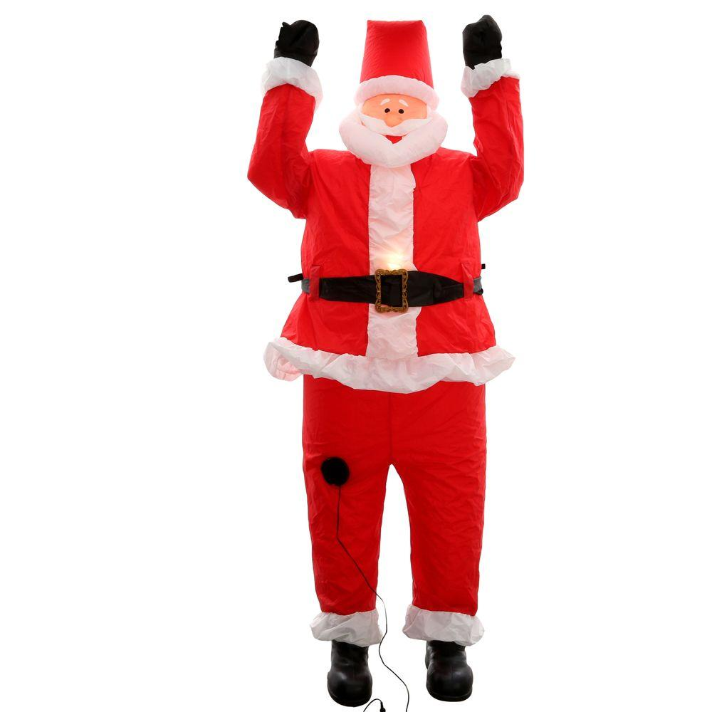 Home Accents Holiday 6 5 Ft Inflatable Santa Hanging From