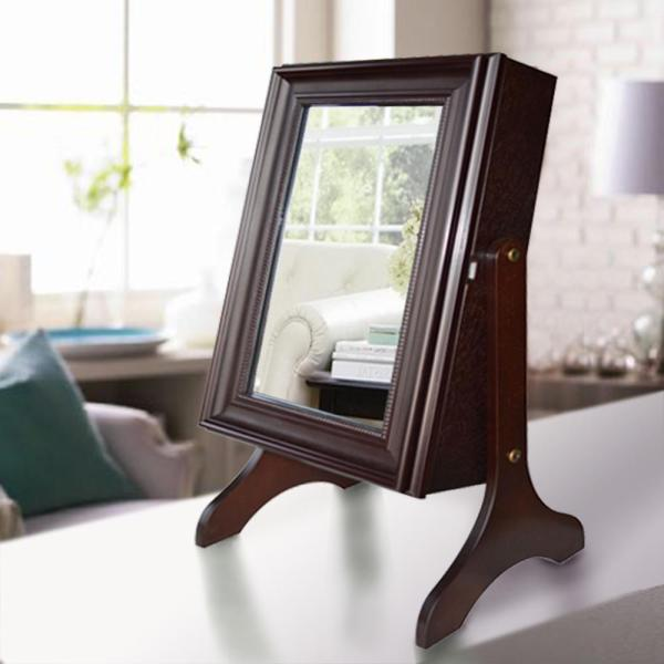 Charlotte Jewelry Armoire with Mirror in Dark Walnut DWS-421DW