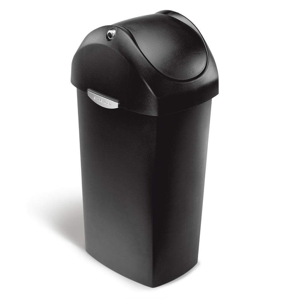 simplehuman 60 liter black plastic swing lid trash can cw1333 the home depot. Black Bedroom Furniture Sets. Home Design Ideas