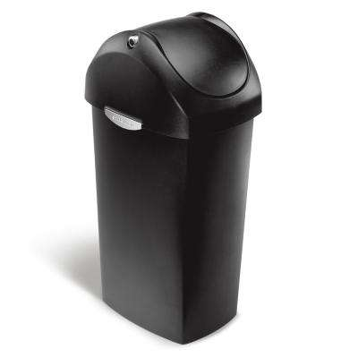 60-Liter Black Plastic Swing Lid Trash Can