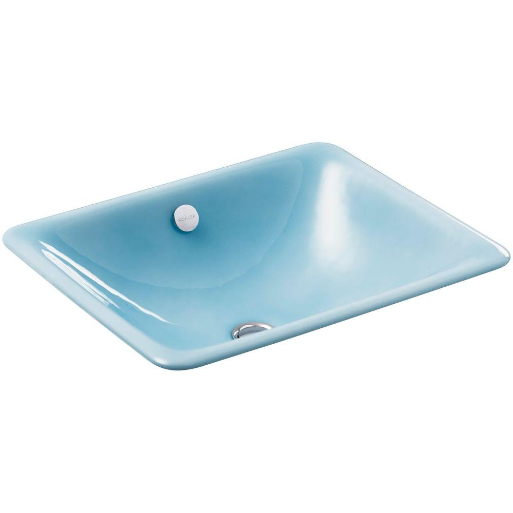 Kohler iron plains dual mount cast iron bathroom sink in vapour blue with overflow drain k 5400 Kohler cast iron bathroom sink