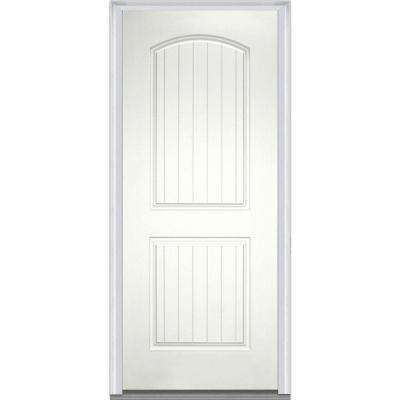 32 in. x 80 in. Right-Hand Inswing 2-Panel Archtop Planked Classic Painted Fiberglass Smooth Prehung Front Door