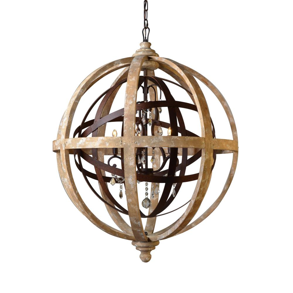 Y decor 5 light khaki and rustic iron chandelier lz8001c Decoration kaki