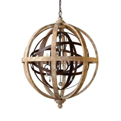 5-Light Khaki and Rustic Iron Chandelier