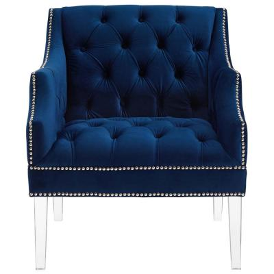 Proverbial Navy Tufted Button Accent Performance Velvet Armchair