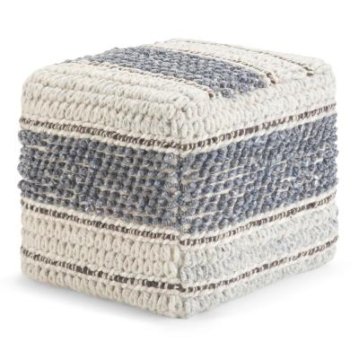 Grady Blue and Natural Handloom Woven Contemporary Square Pouf