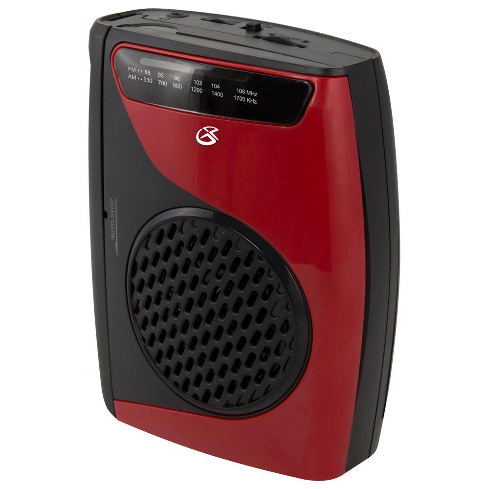 AM/FM Cassette Player/Recorder, Red/Black Bring your cassettes back to life with our portable cassette player. Listen to cassettes or AM/FM radio with the built-in speaker or the included stereo earbuds. Record to cassette with the built-in microphone. Color: Red/Black.