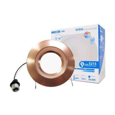 5 in. and 6 in. Downlight Aged Copper 800-Lumen Integrated LED Recessed Trim Retrofit Light