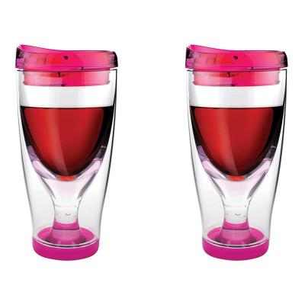 2-Piece Pink 10 oz. Vino 2 Go Wine Tumbler Set