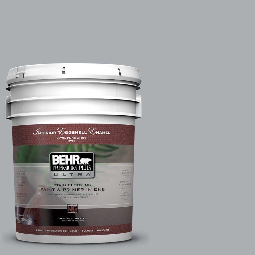 BEHR Premium Plus Ultra 5 gal. #N500-3 Tin Foil Eggshell Enamel Interior Paint and Primer in One