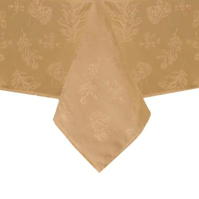 60 in. W x 144 in. L Gold Elegant Woven Leaves Jacquard Damask Tablecloth
