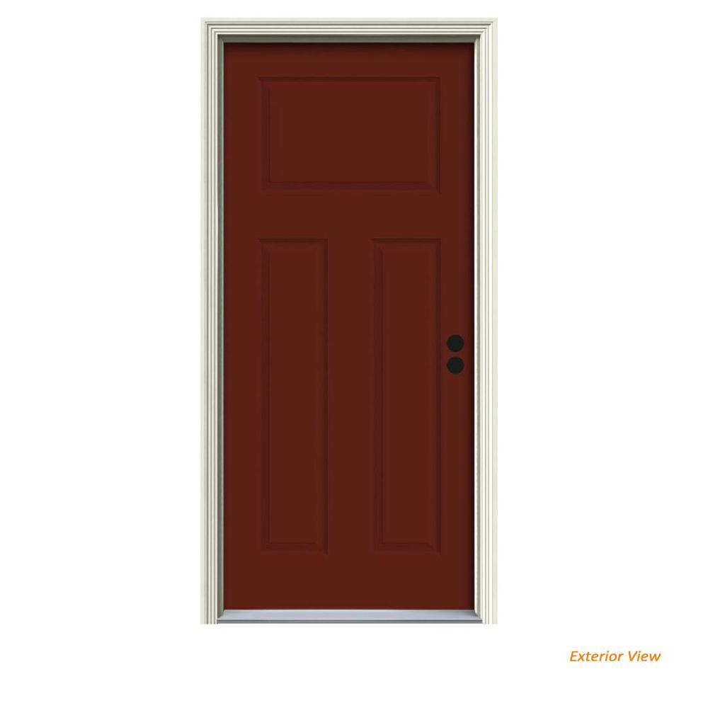 34 in. x 80 in. 3-Panel Craftsman Mesa Red Painted Steel Prehung Left-Hand Inswing Front Door w/Brickmould