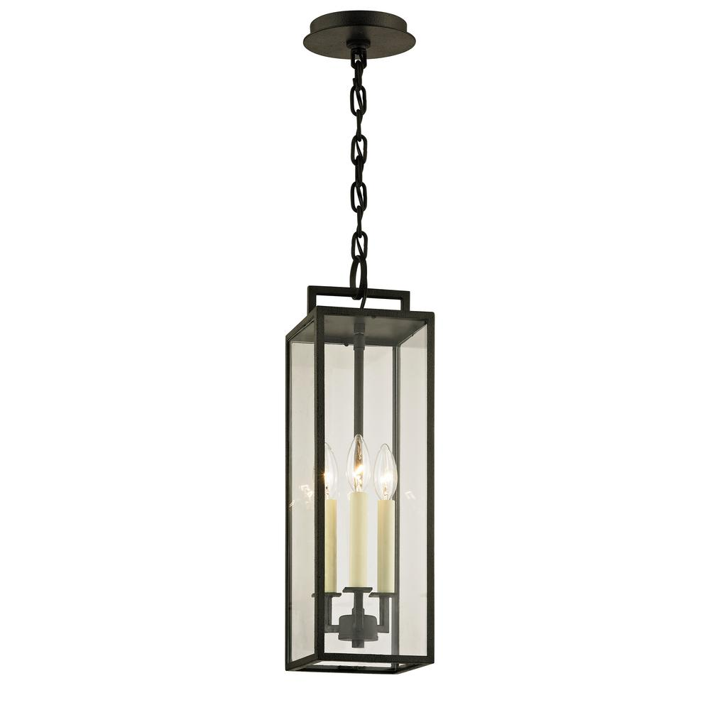 Beckham Forged Iron 3-Light 6 in. W Outdoor Hanging Light with