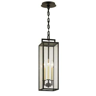 Beckham Forged Iron 3-Light 6 in. W Outdoor Hanging Light with Clear Glass