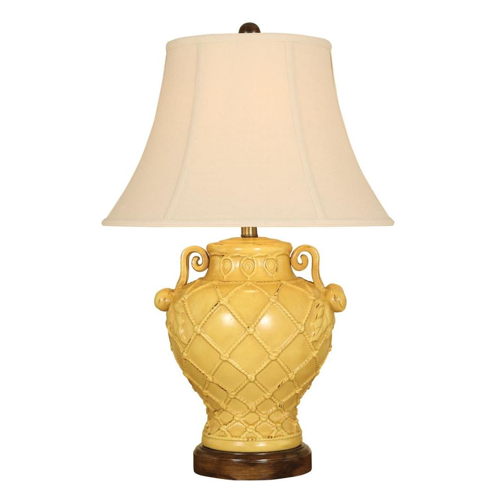 null 29.5 in. Tuscan Yellow Basketweave Table Lamp with Shade-DISCONTINUED