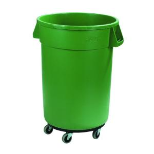 Carlisle Bronco 32 Gal Green Round Trash Can With Dolly