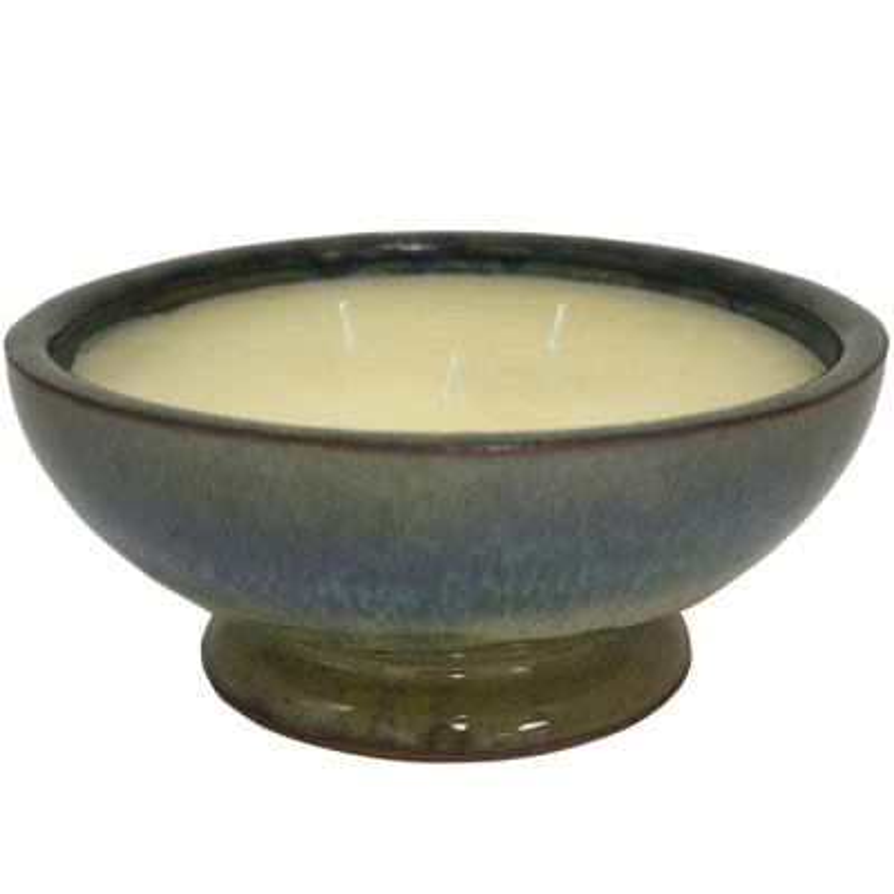 8 in. Green Caspian Ceramic  Citronella 3 Wick Candle