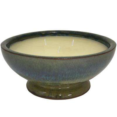 8 in. Green Caspian Ceramic  Citronella 3 Wick Candle