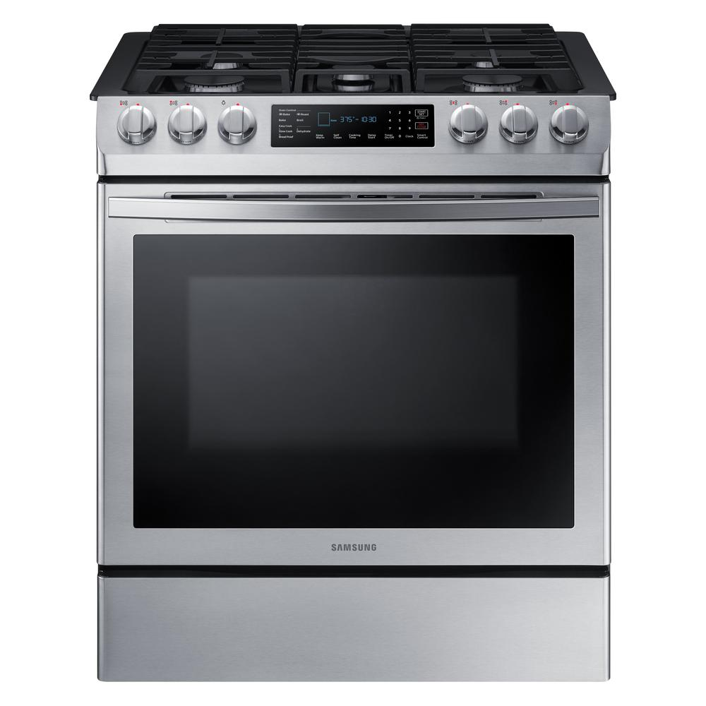 Samsung 30 in. 5.8 cu. ft. Single Oven Gas Slide-In Range with Self-Cleaning and Fan Convection Oven in Stainless Steel, Fingerprint Resistant was $1799.0 now $943.2 (48.0% off)