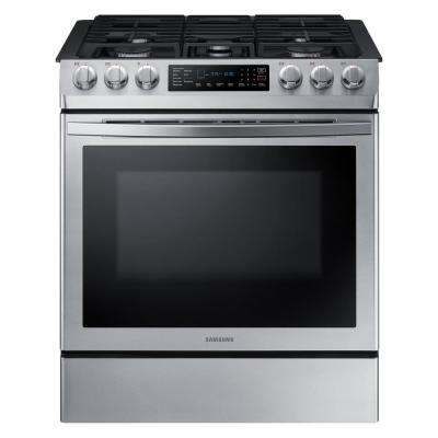 30 in. 5.8 cu. ft. Single Oven Gas Slide-In Range with Self-Cleaning and Fan Convection Oven in Stainless Steel