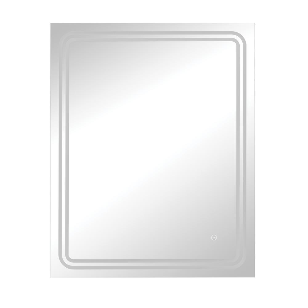 24 in. x 30 in. Single Frameless Dimmable LED Wall Mirror with Anti-Fog Glass