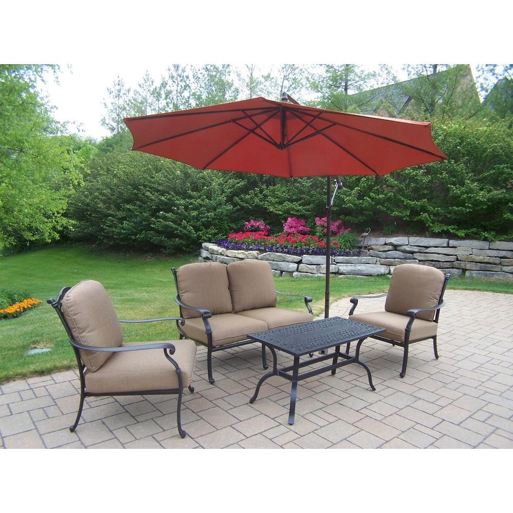 Hampton Cast Aluminum 5-Piece Patio Deep Seating Set with SpunPoly Beige