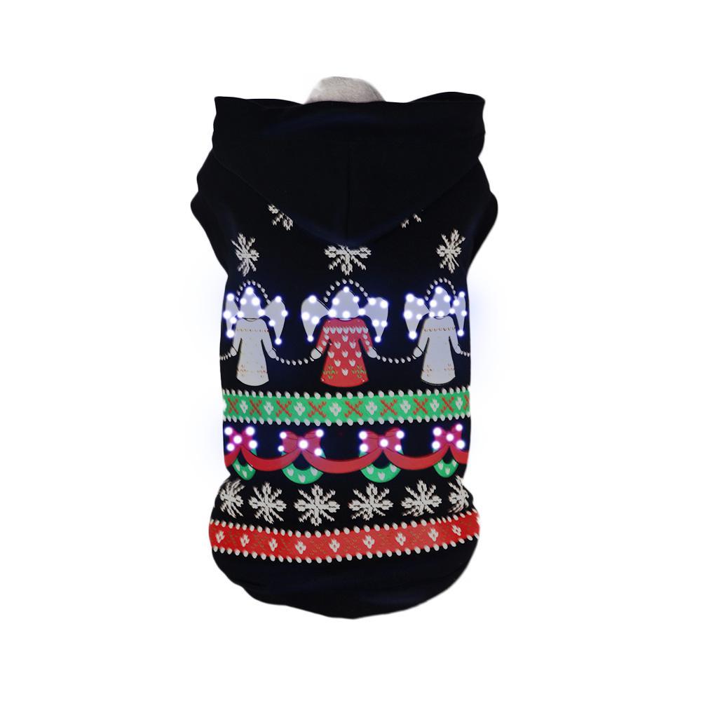 Medium Black LED Lighting Patterned Holiday Hooded Sweater Pet Hoodie