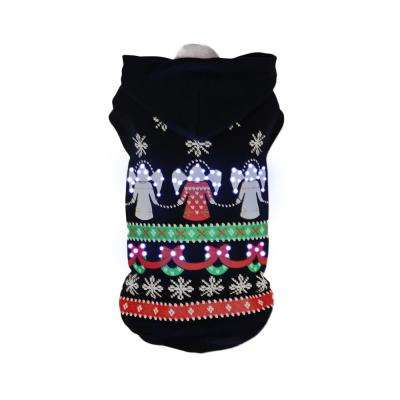 X-Small Black LED Lighting Patterned Holiday Hooded Sweater Pet Hoodie