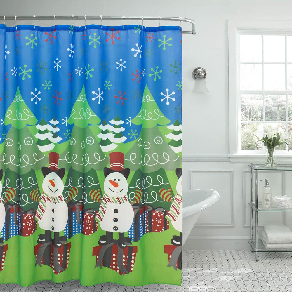 Creative Home Ideas Christmas Tree And Snowman 70 In X 72 Shower Curtain