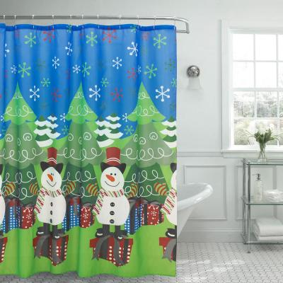 Christmas Tree and Snowman 70 in. x 72 in. Shower Curtain