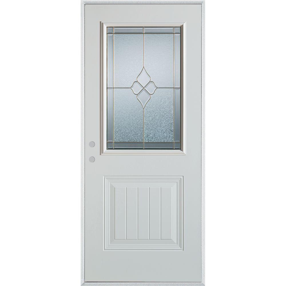 Stanley Doors 33.375 in. x 82.375 in. Geometric Brass 1/2 Lite 1-Panel Painted White Right-Hand Inswing Steel Prehung Front Door