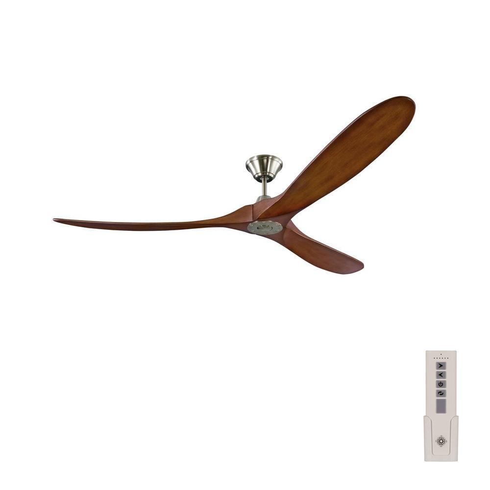 Monte Carlo Maverick Max 70 in. Indoor/Outdoor Brushed Steel Ceiling Fan with Koa Blades