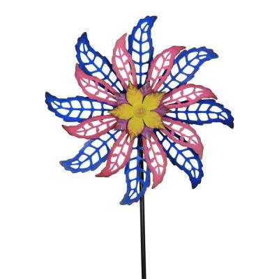 16 in. Blue and Pink Dual Spinning Metal Flower