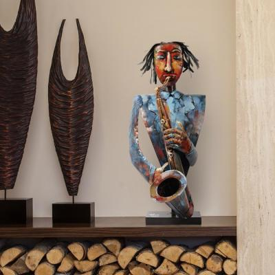 """""""The Saxophonist"""" Mixed Media Inregular Iron Hand-Pinted Colorful Art Sculpture"""