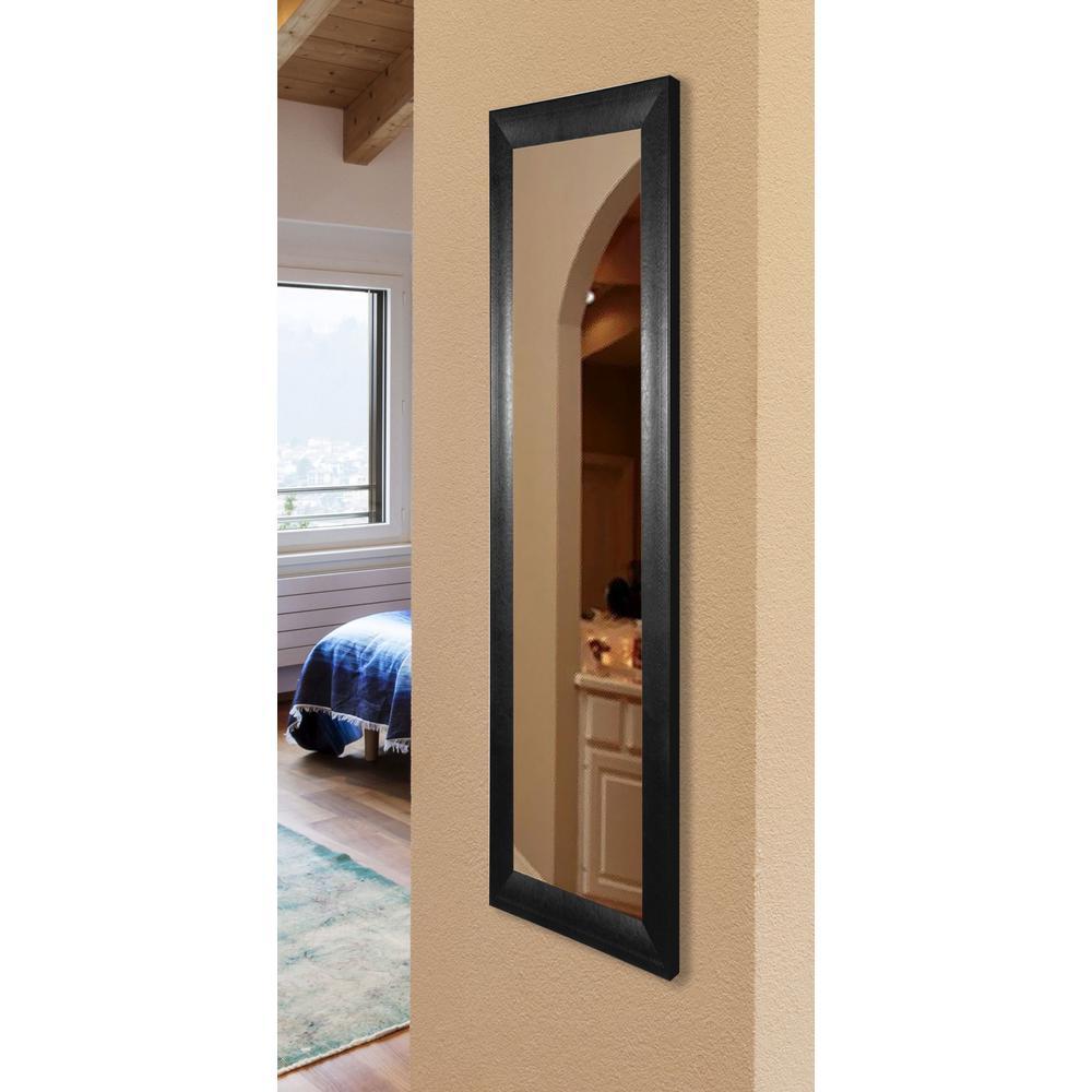 30.75 in. x 65.75 in. Vanity Stitched Black Non Beveled Floor Mirror
