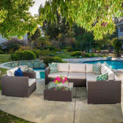 Santa Rosa Brown 7-Piece Wicker Outdoor Sectional with Sunbrella Beige Cushions