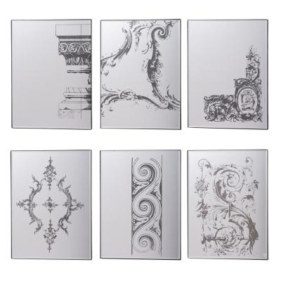 Antique Black Mirror Glass with Designs (Set of 6)