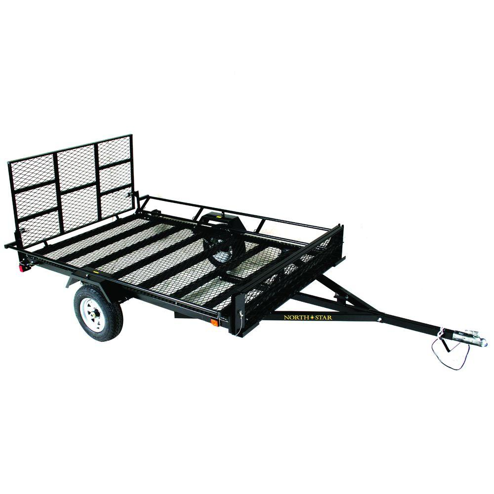 null UniStar 6 ft. x 9.5 ft. ATV Trailer Kit with Side Loading Ramps and Rear Loading Gate
